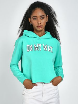 Blue Saint Turquoise Slogan Print Regular Fir Hoodie