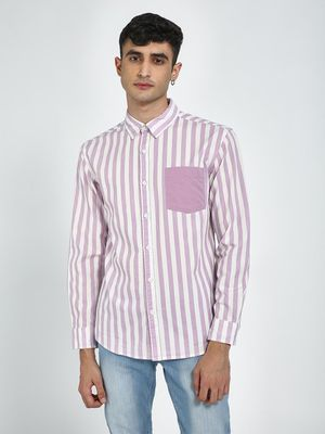 Blue Saint All Over Vertical Stripe Casual Shirt
