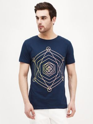 Blue Saint Placement Print Crew Neck T-Shirt