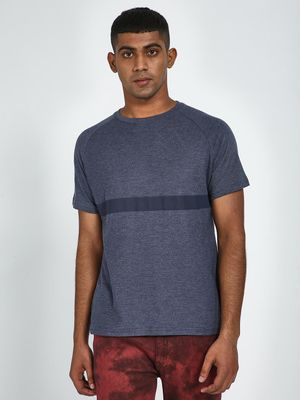 Blue Saint Textured Single Stripe Regular Fit T-Shirt