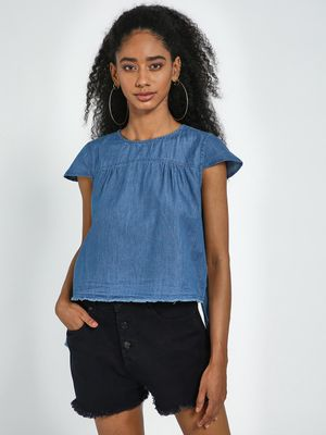 Blue Saint Blue Round Neck Styled Back High Low Top