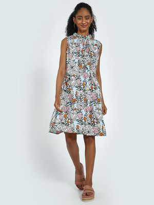 Blue Saint Floral Print Ruffled Midi Dress