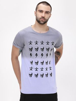 Blue Saint Dip Dye Printed T-Shirt