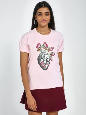 Blue Saint Rose Heart Print Round Neck T-Shirt