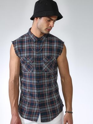 Blue Saint Gingham Check Raw Edge Sleeveless Shirt