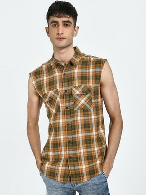 Blue Saint Plaid Check Print Sleeveless Shirt