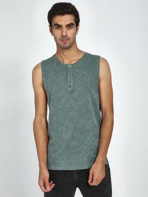Blue Saint Basic Henley Sleeveless T-Shirt