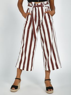 Blue Saint Vertical Stripes Paperbag Waist Belted Trousers
