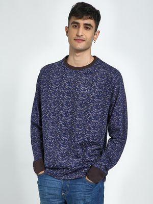 Blue Saint Abstract Print Round Neck Sweatshirt