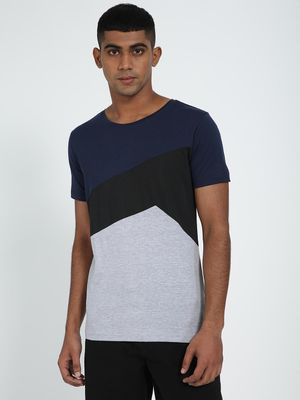 Blue Saint Men's Asymmetrical Contrast Panel T-Shirt