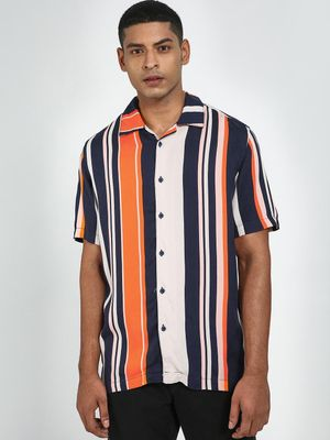 Blue Saint Macro Vertical Stripe Short Sleeve Shirt