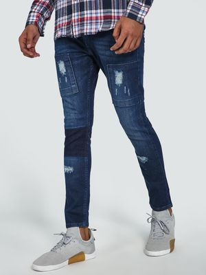 Blue Saint Mid-Wash Distressed Cropped Skinny Jeans