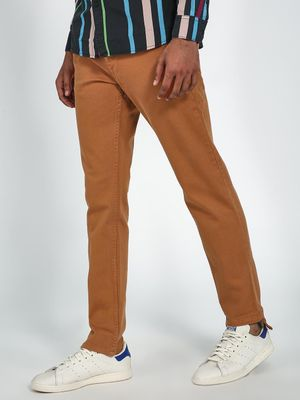 Blue Saint Men's Brown Slim Fit Trousers