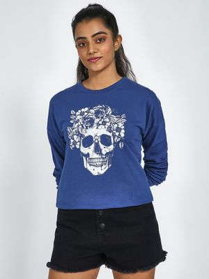 Blue Saint Skull Print Crew Neck Sweatshirt