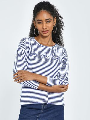 Blue Saint Horizontal Stripe Embroidered Text T-Shirt