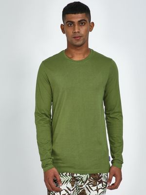 Blue Saint Olive Full Sleeve Regular Fit T-Shirt