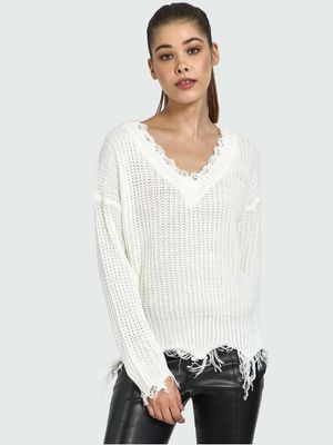 Blue Saint V-Neck Fringed Cable Knit Pullover