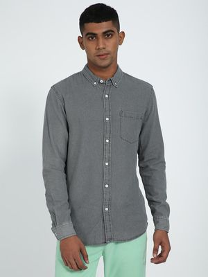 Blue Saint Men's Grey Slim Fit Casual Shirt
