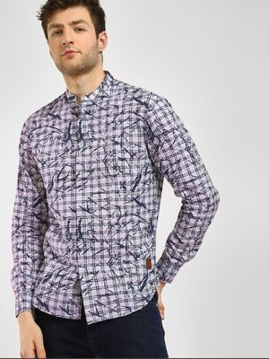Blue Saint Checkered Splatter Print Shirt