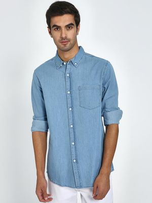 Blue Saint Button-Down Collar Denim Shirt