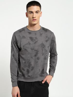 Blue Saint Marble Print Raw Edge Sweatshirt