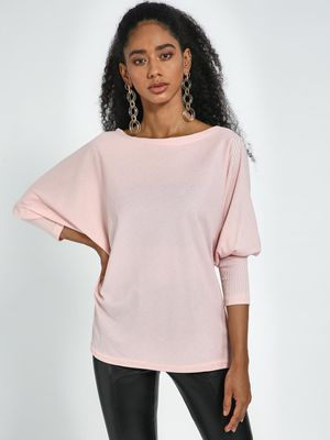 Blue Saint Pink Round Neck Bishop Sleeves Pullover