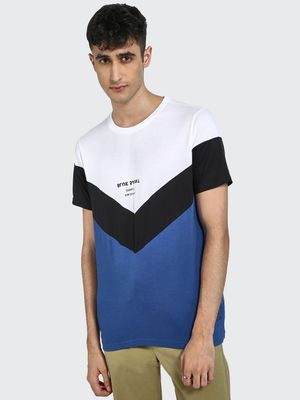 Blue Saint Chevron Colour Block Slogan T-Shirt