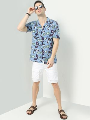 Blue Saint Leaf Print Short Sleeve Shirt
