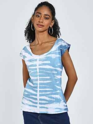 Blue Saint Tie-Dye Scoop Neck Top