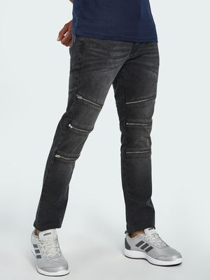 Blue Saint Acid Wash Zipper Detail Biker Slim Jeans