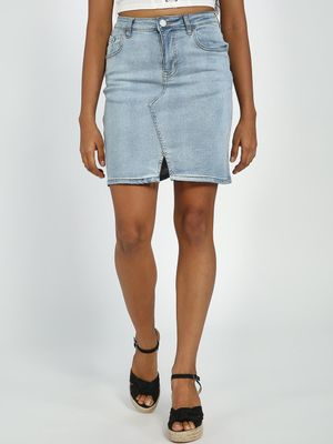 Blue Saint Light Wash Denim Mini Skirt
