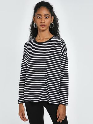 Blue Saint All Over Horizontal Stripe Top