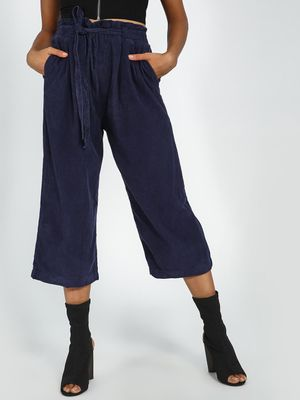 Blue Saint Navy Blue Corduroy Belted Trousers