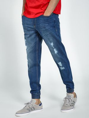 Blue Saint Light Wash Distressed Denim Joggers