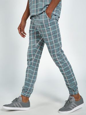 Blue Saint Check Print Slim Joggers