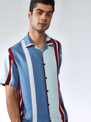 Blue Saint Contrast Stripe Causal Shirt