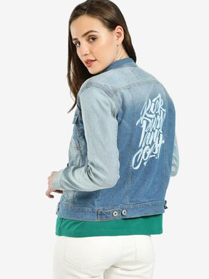 Blue Saint Skull Rose Print Denim Jacket