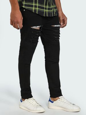 Blue Saint Biker Detail Ripped Slim Jeans