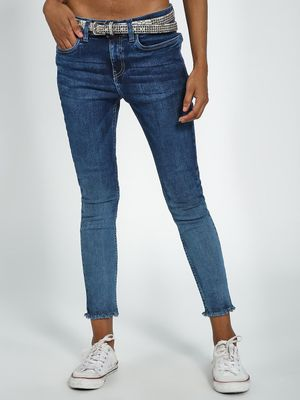 Blue Saint Washed Slim Fit Cropped Jeans