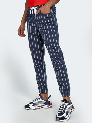 Blue Saint Vertical Pinstripe Denim Joggers