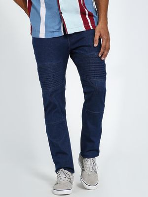 Blue Saint Panelled Cut & Sew Biker Slim Jeans