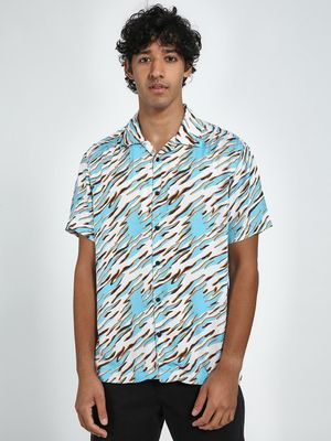 Blue Saint Aqua Blue Short Sleeves Slim Fit Shirt