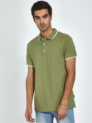 Blue Saint Contrast Piping Polo Neck T-shirt