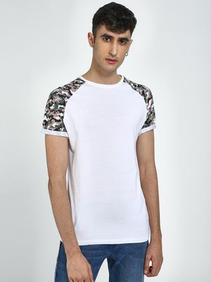 Blue Saint Camo Print Round Neck T-Shirt