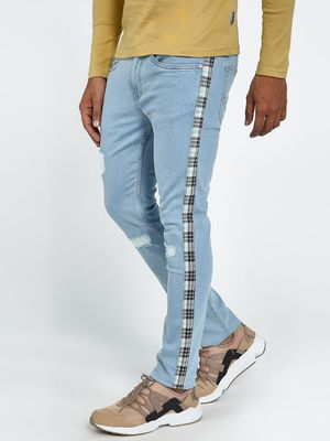 Blue Saint Light Wash Side Tape Distressed Slim Jeans