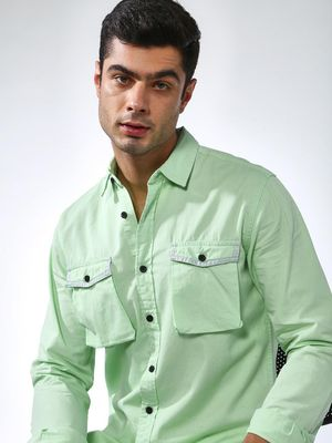Blue Saint Green Button Down Slim Fit Shirt