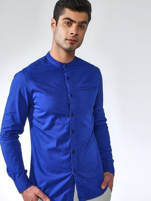 Blue Saint Men's Blue Slim Fit Casual Shirt