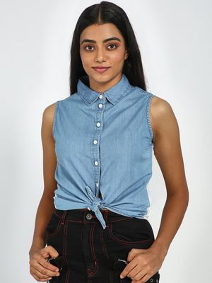 Blue Saint Graphic Back Print Sleeveless Denim Shirt