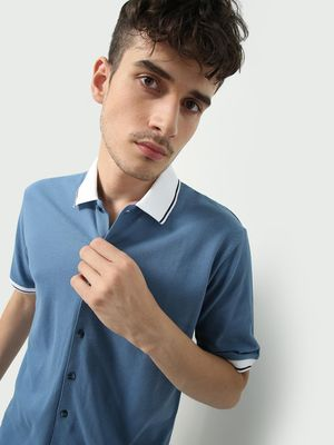 Blue Saint Contrast Collar Shirt