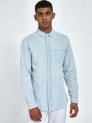 Blue Saint Light Blue Patch Pocket Slim Fit Shirt